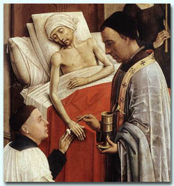 Detail of The Seven Sacraments (1445) by Rogier van der Weyden